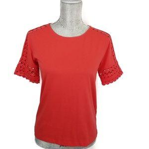 J Crew red orange tee with detailed sleeves